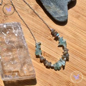 Blue Topaz & Labradorite Chip Silver Necklace